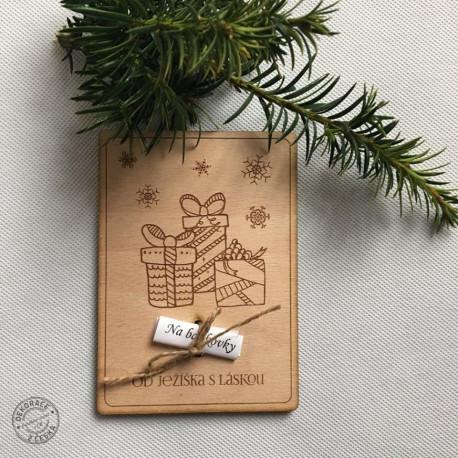 Vánoční dřevěné přání
